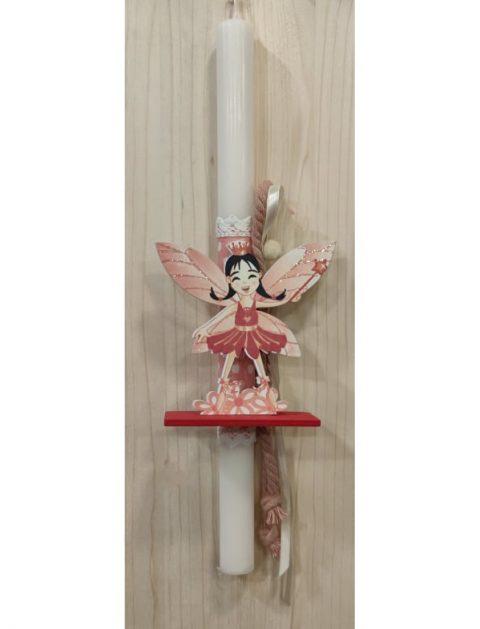 Χειροποίητη αρωματική πασχαλινή λαμπάδα ξύλινη Νεράιδα με βάση