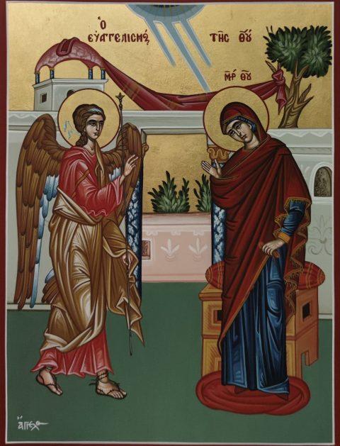 Χειροποίητη εικόνα αγιογραφίας Ευαγγελισμός της Θεοτόκου