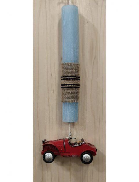 ΧεΧειροποίητη πασχαλινή λαμπάδα με ξύλινο δΧειροποίητη πασχαλινή λαμπάδα με ξύλινο διακοσμητικό πουλάκι ιακοσμητικό πουλάκι ιροποίητη λαμπάδα με κρεμαστό αυτοκίνητο