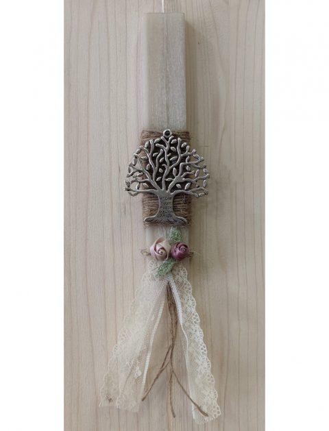 Χειροποίητη πασχαλινή λαμπάδα «Το Δέντρο της Ζωής»