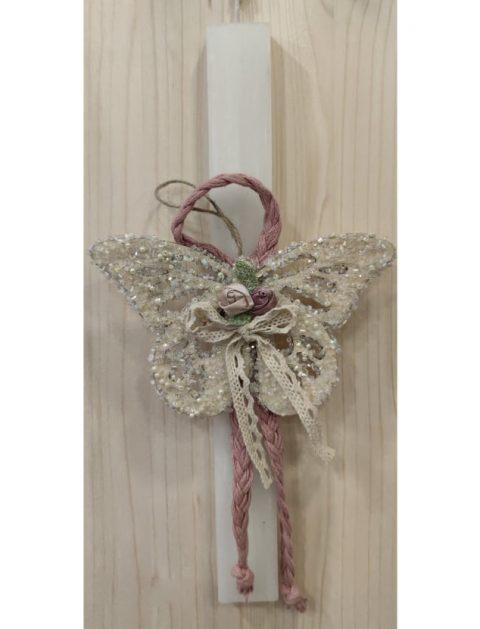 Χειροποίητη πασχαλινή λαμπάδα πεταλούδα