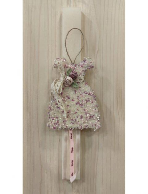 Χειροποίητη πασχαλινή λαμπάδα φόρεμα