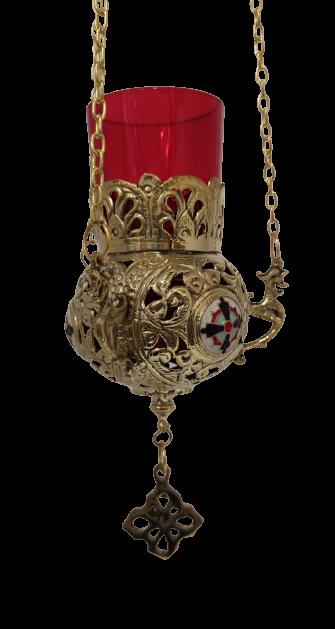Εκκλησιαστικό Καντήλι Μπρούτζινο με Σμαλτάκι Χρυσό