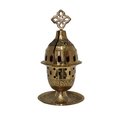Bronze lamp with perforated gold designs