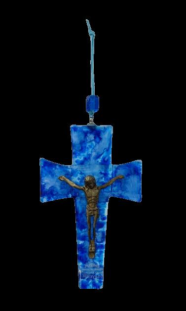 Σταυρός Φυσητό Γυαλί Μικρός σε Τυρκουάζ - Μπλε